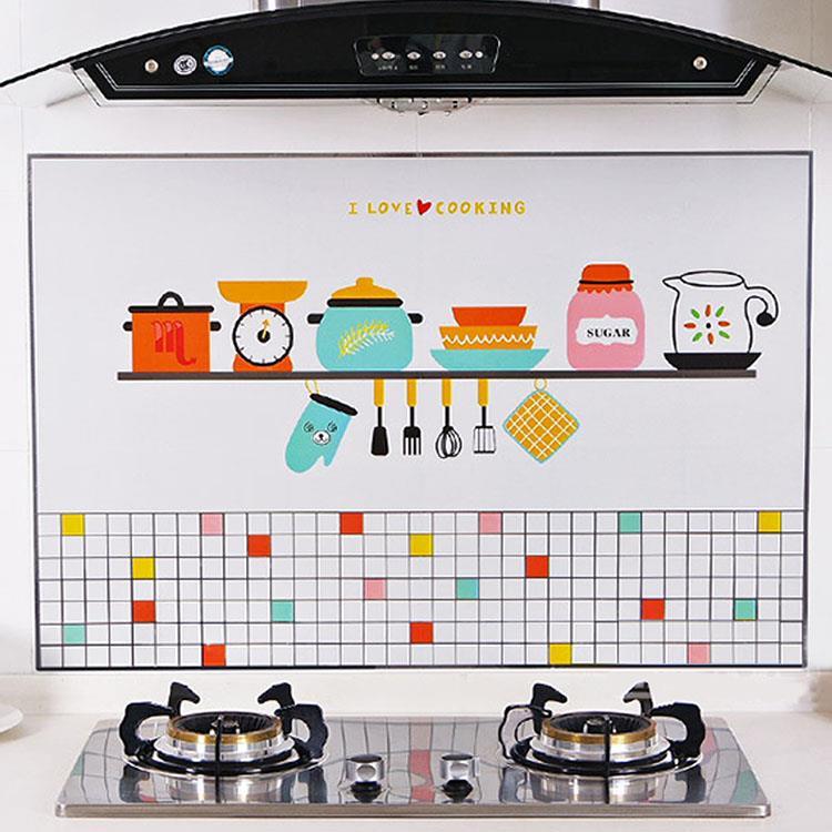 廚房時光防油煙廚房鋁箔磁磚壁貼(1張)