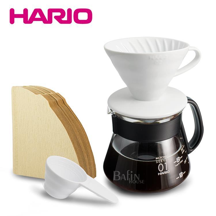 【HARIO】2人份  陶瓷濾杯 濾紙 咖啡壺組