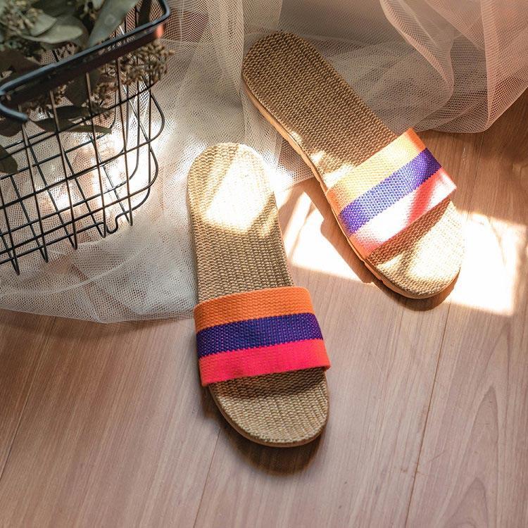 樂嫚妮 亞麻室內外居家拖鞋-粉紫橙35-36