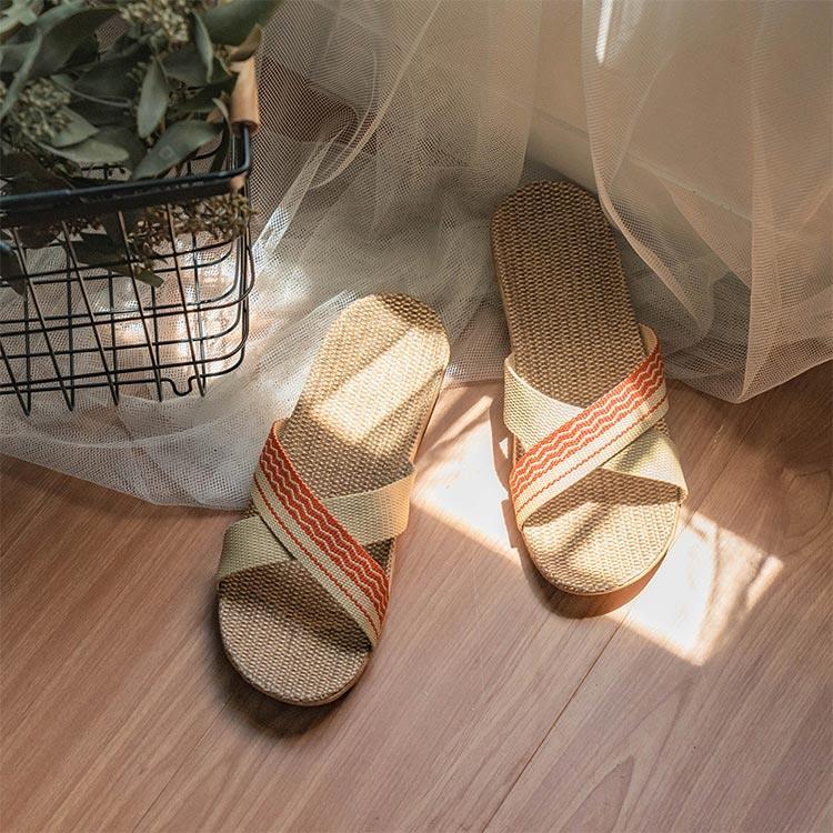 樂嫚妮 亞麻室內外居家拖鞋-交叉紅39-40