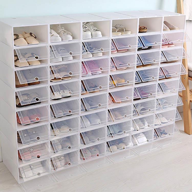 DIY組裝翻蓋式收納鞋盒(2入1組)