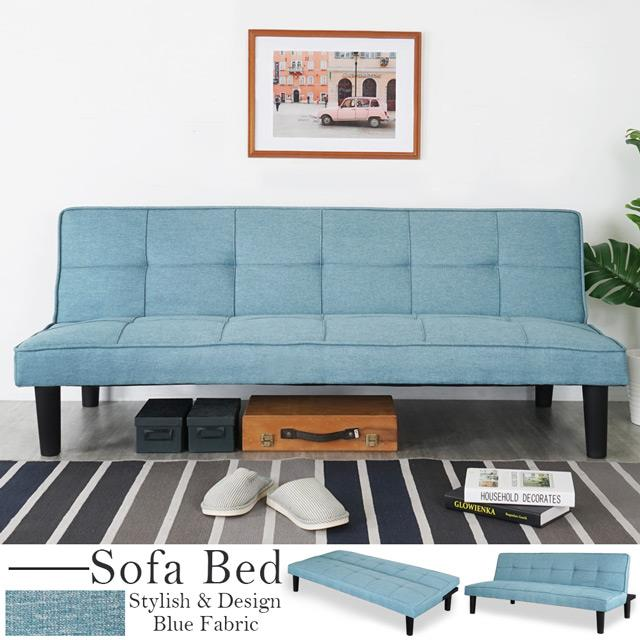 Yostyle 多莉絲亞麻布沙發床-天空藍