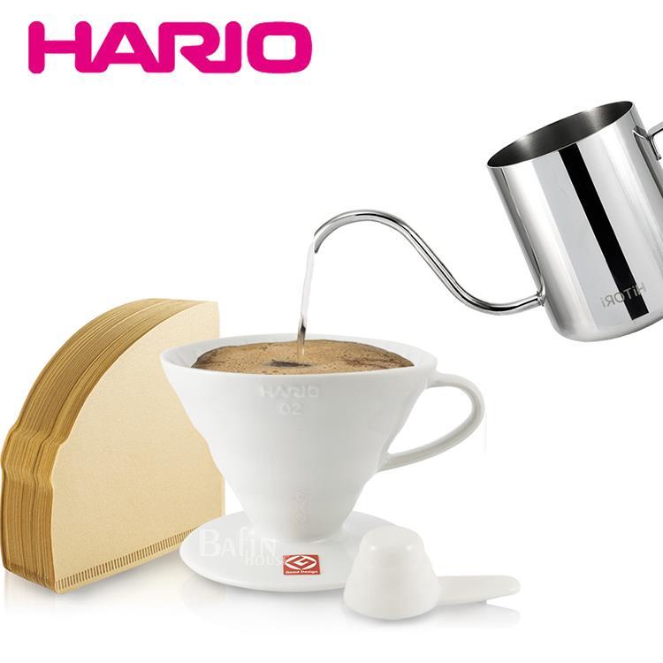 【日本 HARIO】2人份有田燒陶瓷濾杯及無漂白01濾紙100張+【日本 HiTORi】不鏽鋼細口壺