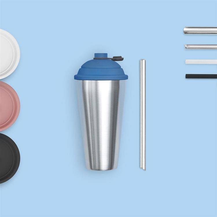 YCCT速吸杯 + 可拆洗不鏽鋼吸管 (細) - 煙燻粉 - 啵一下就能吸的手搖環保杯