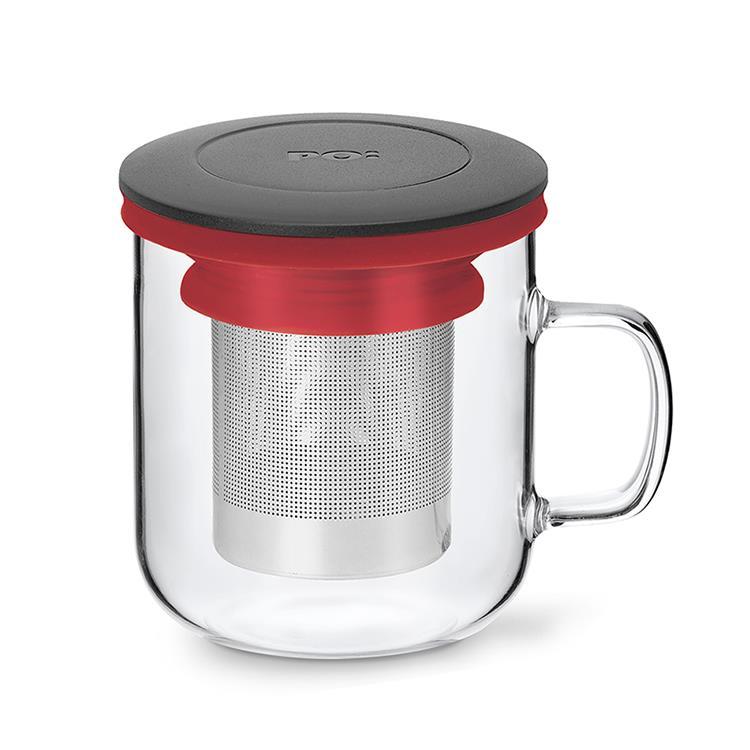 【PO:Selected】丹麥泡茶玻璃杯350ml 2.0 (黑+紅)