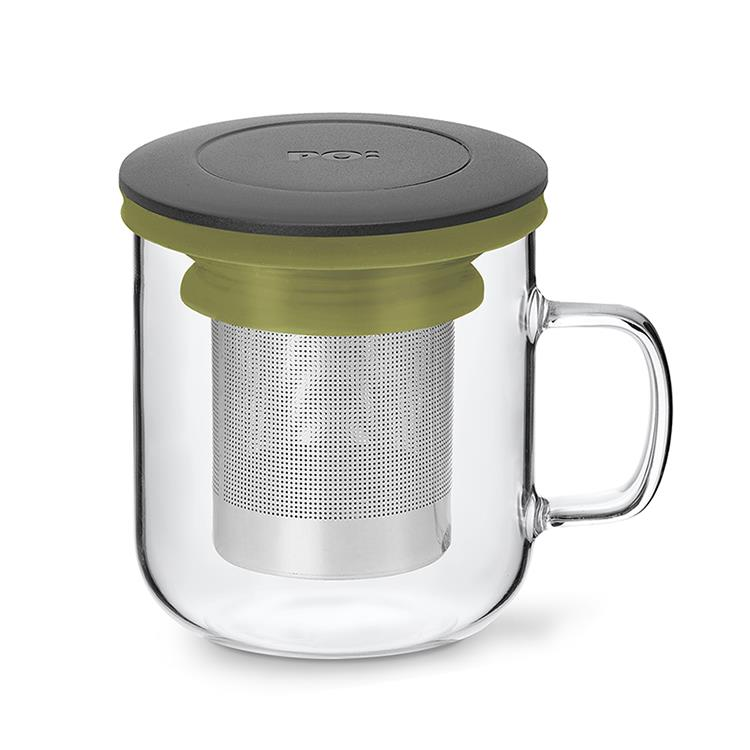 【PO:Selected】丹麥泡茶玻璃杯350ml 2.0 (黑+綠)