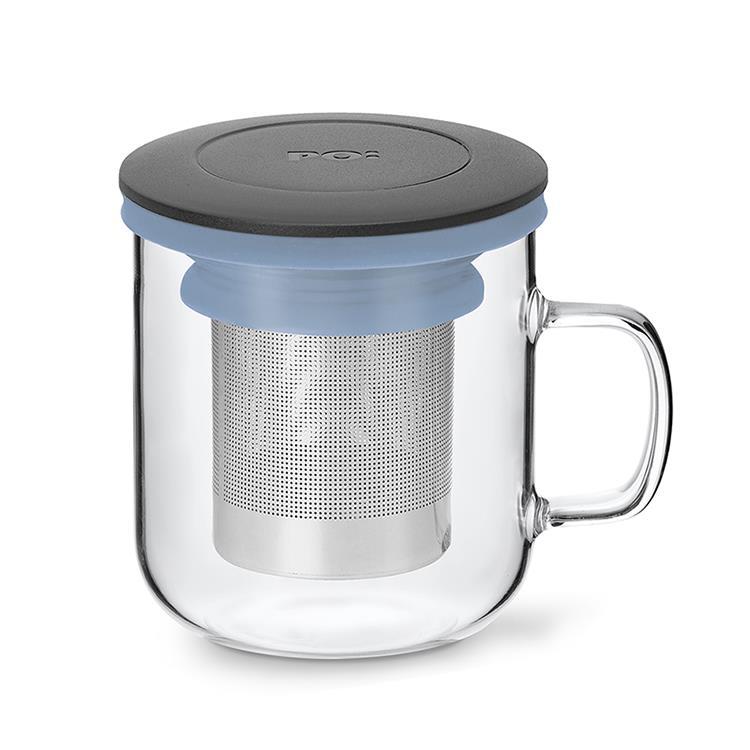【PO:Selected】丹麥泡茶玻璃杯350ml 2.0 (黑+藍)