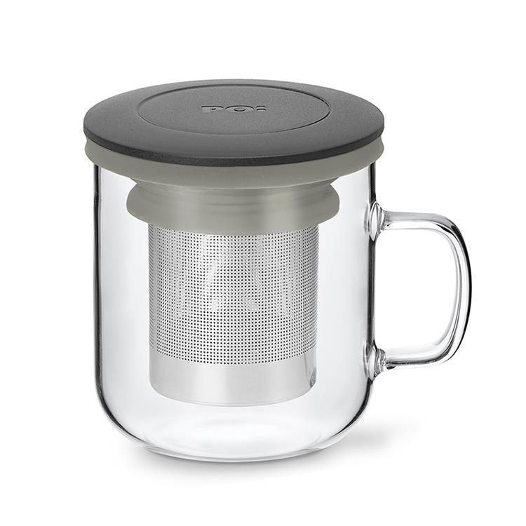 【PO:Selected】丹麥泡茶玻璃杯350ml 2.0 (黑+灰)