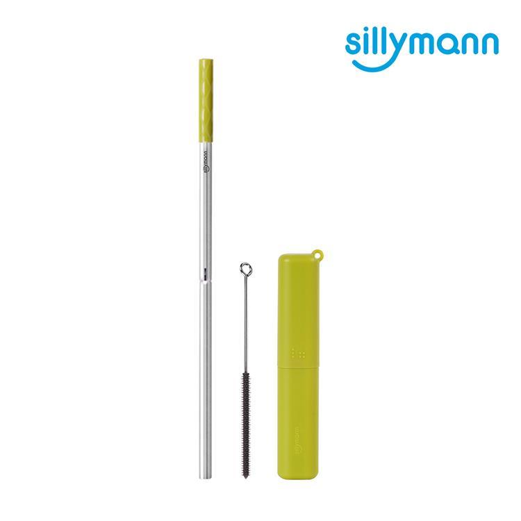 【韓國sillymann】 100%鉑金矽膠攜帶型304不銹鋼吸管套裝--2組
