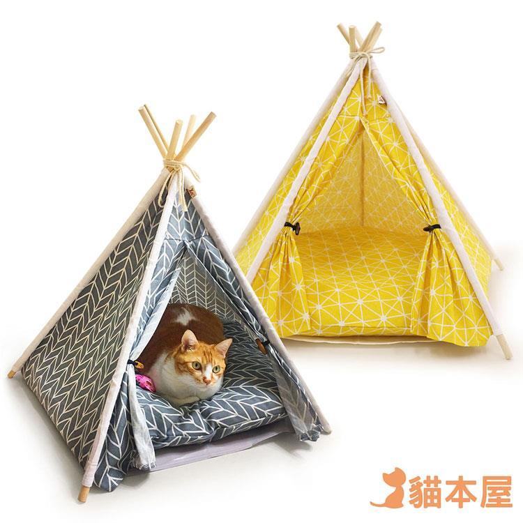 貓本屋 狗窩/貓窩 可拆洗四季通用 五角型亞麻寵物帳篷-灰色/黃色