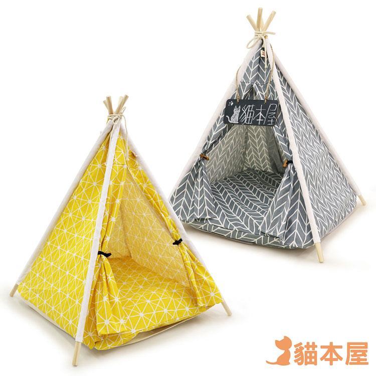 貓本屋 狗窩/貓窩 可拆洗四季通用 四角型亞麻寵物帳篷-灰色/黃色