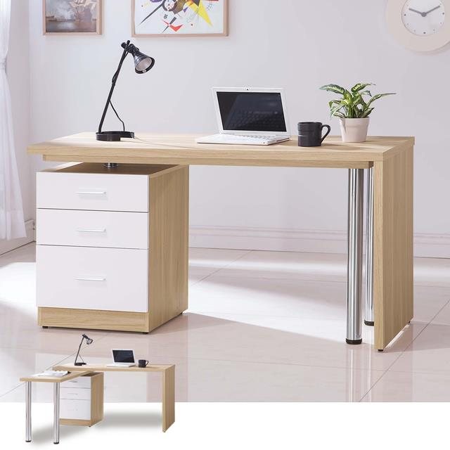 YoStyle 蘿瑪4.8尺旋轉功能桌-原木+白色