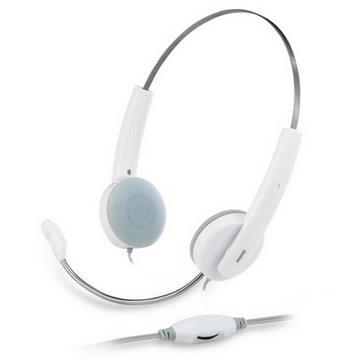 Genius HS-210C 立體聲輕型線控耳機麥克風(白色)