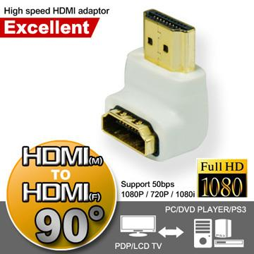 超穩定HDMI(公)對HDMI(母)極速轉接頭(90度)