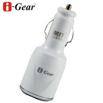 i-Gear 3.1A大電流 雙USB 車用充電器(白)