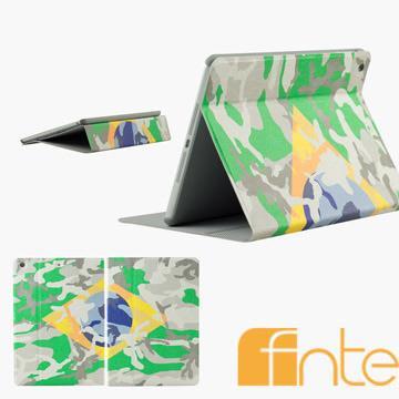 fnte FIFA世界盃迷彩國旗Apple iPad Air保護套-巴西