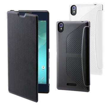Muvit Sony T3 Easy Folio皮質手機皮套-薄絲黑