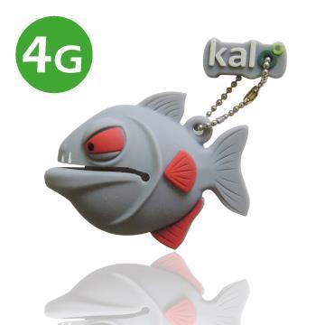 Kalo 卡樂創意 矽膠造型隨身碟 -3D食人魚-灰(4G)