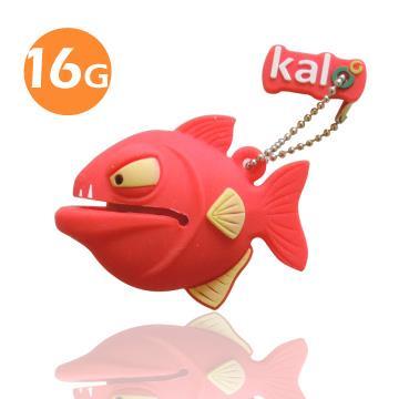 Kalo 卡樂創意 矽膠造型隨身碟 -3D食人魚-紅(16G)