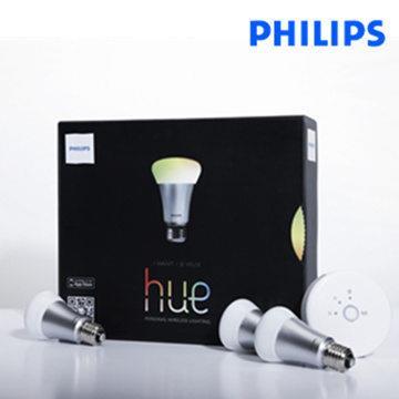 【加贈折疊式LED檯燈 (66046)】【飛利浦 PHILIPS LIGHTING】Hue無線智慧照明_入門系統組 2.0 版