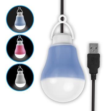 USB LED 隨身照明 帶線聚光燈泡(白光)-藍色