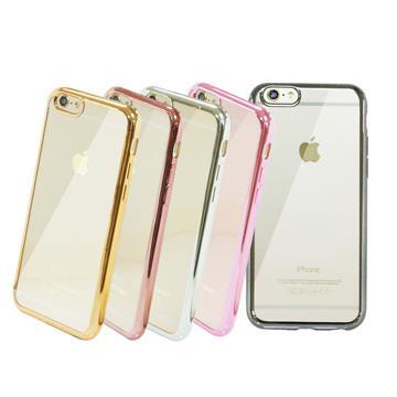 iPhone 6/6S Plus 5.5吋 電鍍邊框矽膠保護套-粉(共五色)