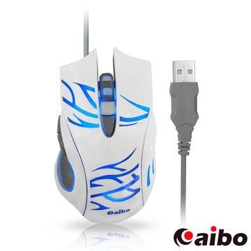aibo S629 閃靈魔鼠 Spirir 六鍵式高解析有線光學滑鼠-白色