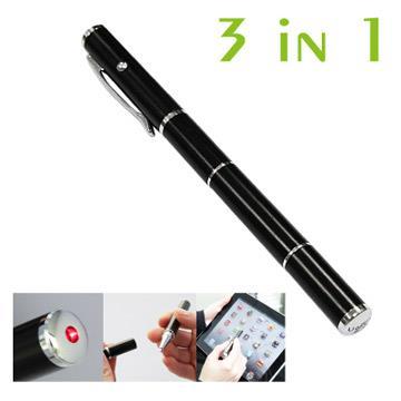 OBIEN高感度多功能三用觸控筆三合一觸控筆/電容式觸控筆/雷射筆/原子筆