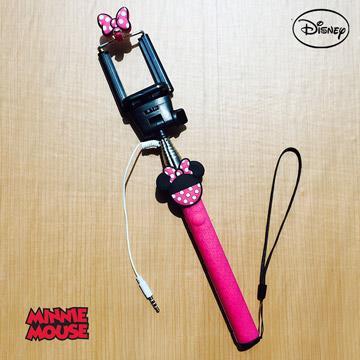 正版迪士尼 經典人物立體造型 伸縮線控自拍棒/自拍神器 情侶系列 - 米妮蝴蝶結 0002
