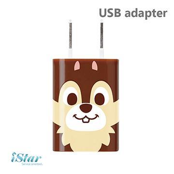 【日本 PGA-iJacket】正版迪士尼 可愛大臉經典人物豆腐充系列 USB轉接插頭 - 奇奇