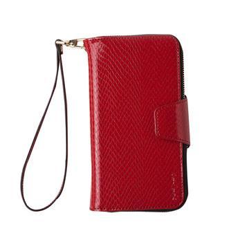 【Navjack】iPhone 8 / 7- 蛇皮壓紋拉鍊式錢包皮套_嫣紅色
