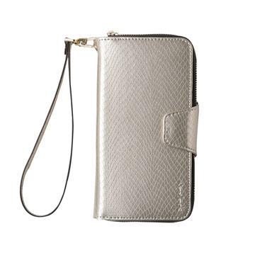 【Navjack】iPhone 8 / 7 - 蛇皮壓紋拉鍊式錢包皮套_香檳金