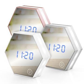 USB充電式 六角形可調光鏡子鬧鐘-玫瑰金