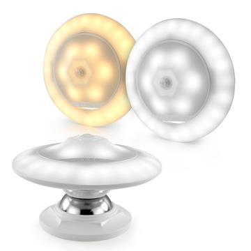 USB充電式 磁力飛碟 LED人體感應照明燈-黃光