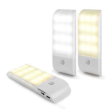 USB充電式 迷你智能LED人體感應照明燈(LI-10)-暖黃光