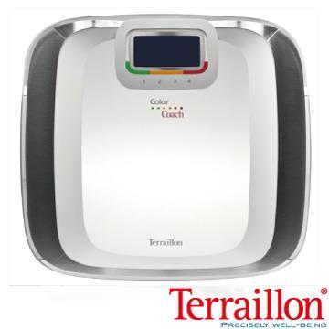 【Terraillon】彩繽紛大鏡面鋼化玻璃體重計-羽毛白
