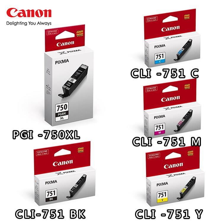 CANON PGI-750XL BK+CLI-751BK/C/M/Y原廠墨水組