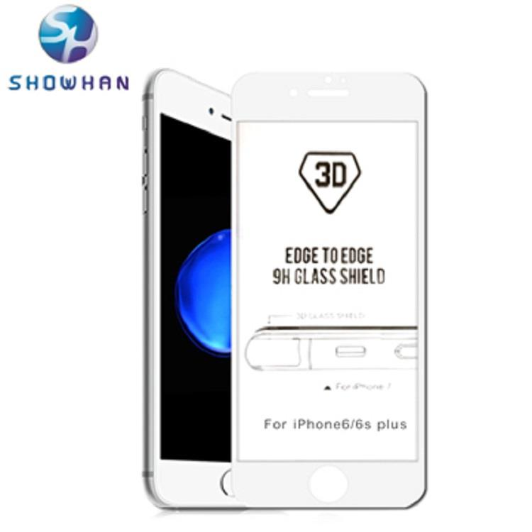 SHOWHAN 3D曲面滿版全覆蓋iPhone6/6s plus9H鋼化0.3mm玻璃保護貼 白色