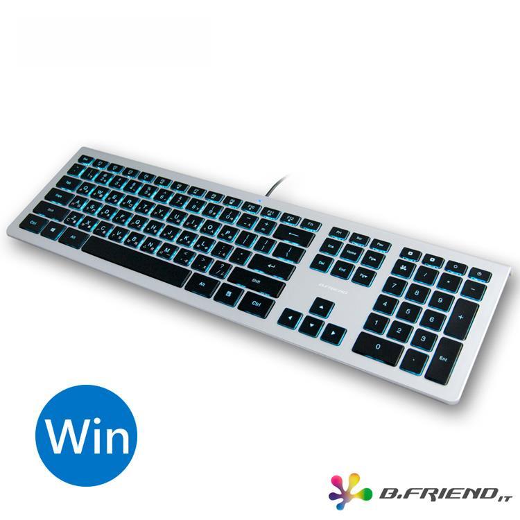 B.FRIEND KB460 剪刀腳發光薄型有線鍵盤(WINDOWS專用)