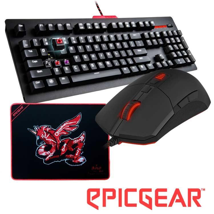 EPICGEAR 戰魔者鍵盤灰軸中文+魔拉滑鼠-黑+送AHQ聯名款鼠墊