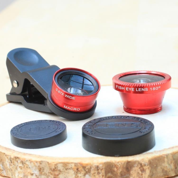 手機魚眼、近拍、廣角三款入鏡頭組.深情紅色