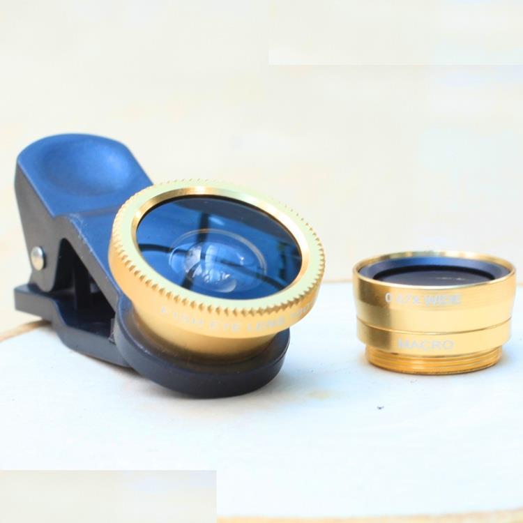 手機魚眼、近拍、廣角三款入鏡頭組.耀眼金色