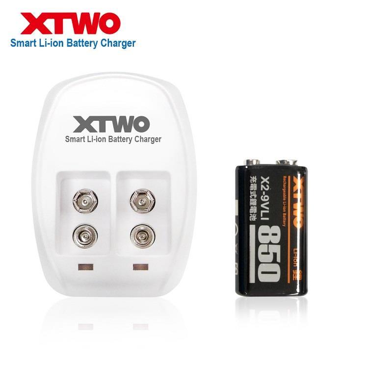 XTWO 高容量850型 9V 鋰電充電組(附1顆電池)