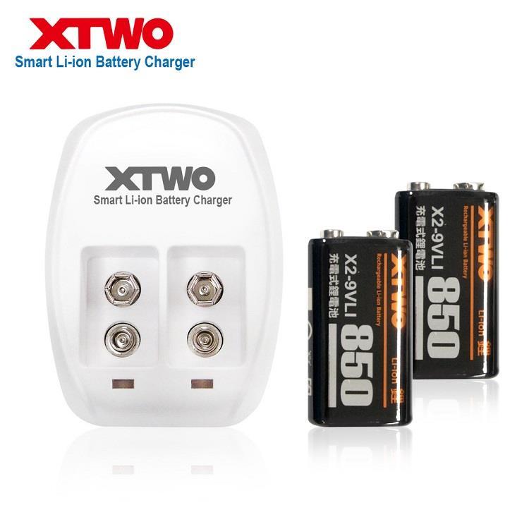 XTWO 高容量850型 9V 鋰電充電組(附2顆電池)
