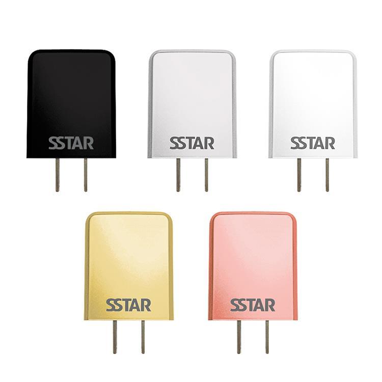 【台灣製造】SSTAR 2.4A 雙埠USB充電器-銀色