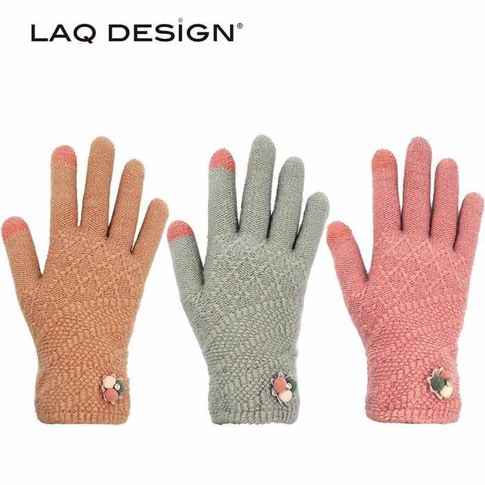 LAQ 2TIPS 菱形格紋二指觸控手套 小花水鑽