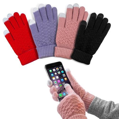 格紋針織觸控保暖手套
