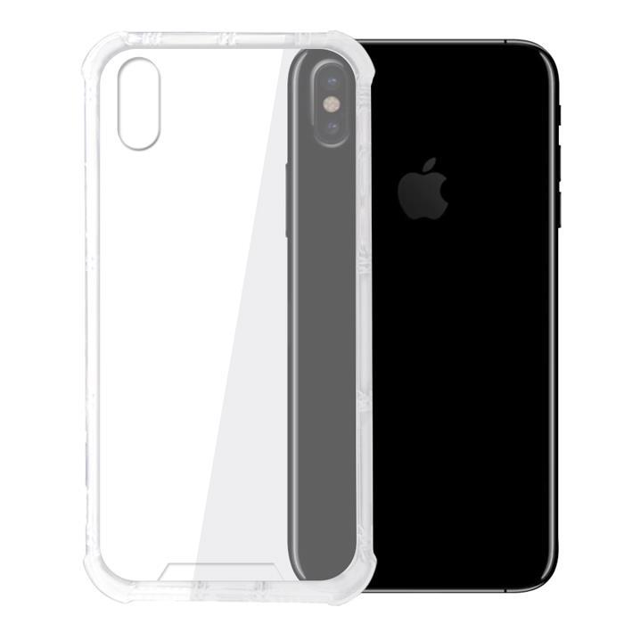 iPhone X 四角強化TPU矽膠+PC背板氣囊防摔抗震空壓手機殼-透明