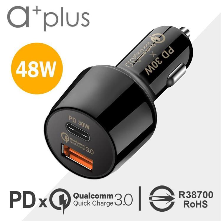 a+plus PD 30W + 高通認證QC3.0 超急速車用充電器 ACC-QCPD30W