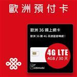 歐洲預付卡 - 36國高速上網4GB/30天